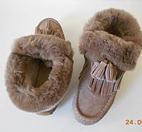 Зимние женские бежевые ботинки из замши с натуральным мехом SQJ