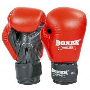 Перчатки боксерские кожаные на липучке BOXER 2023 (р-р 10-12oz, цвета в ассортименте), Красный-черный