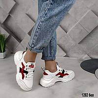Женские белые кожаные кроссовки демисезонные Натуральная кожа Осенние весенние Размеры 36 - 41