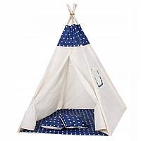 Детская палатка Вигвам SPRINGOS TIPI Игровой домик для детей 120 х 100 см Хлопок Белый синий (TIP08) XXL, фото 1