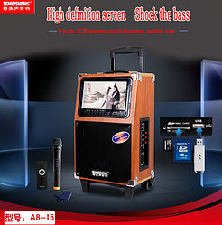Аккумуляторная колонка c экраном Temeisheng A 8-15  с радиомикрофоном (USB/Bluetooth/Video)