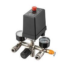 Прессостат 380В(блок автоматики компрессора) 10 bar в сборе, (прессостат, редуктор, 2 манометра,
