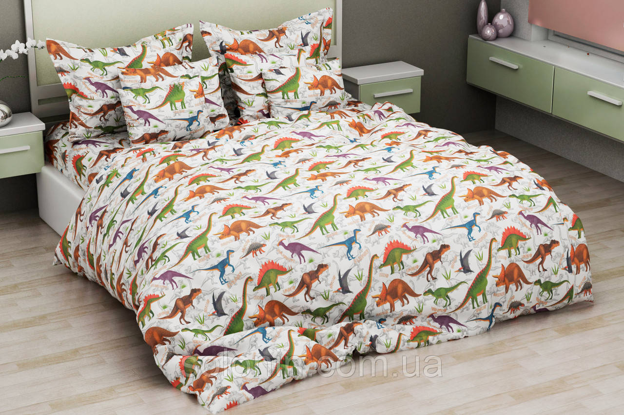 Дитяче постільна з динозаврами.