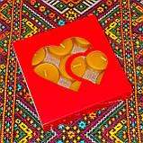 Подарочный набор круглых восковых чайных свечей 18г (9шт.) в коробке Синий Снег, фото 5