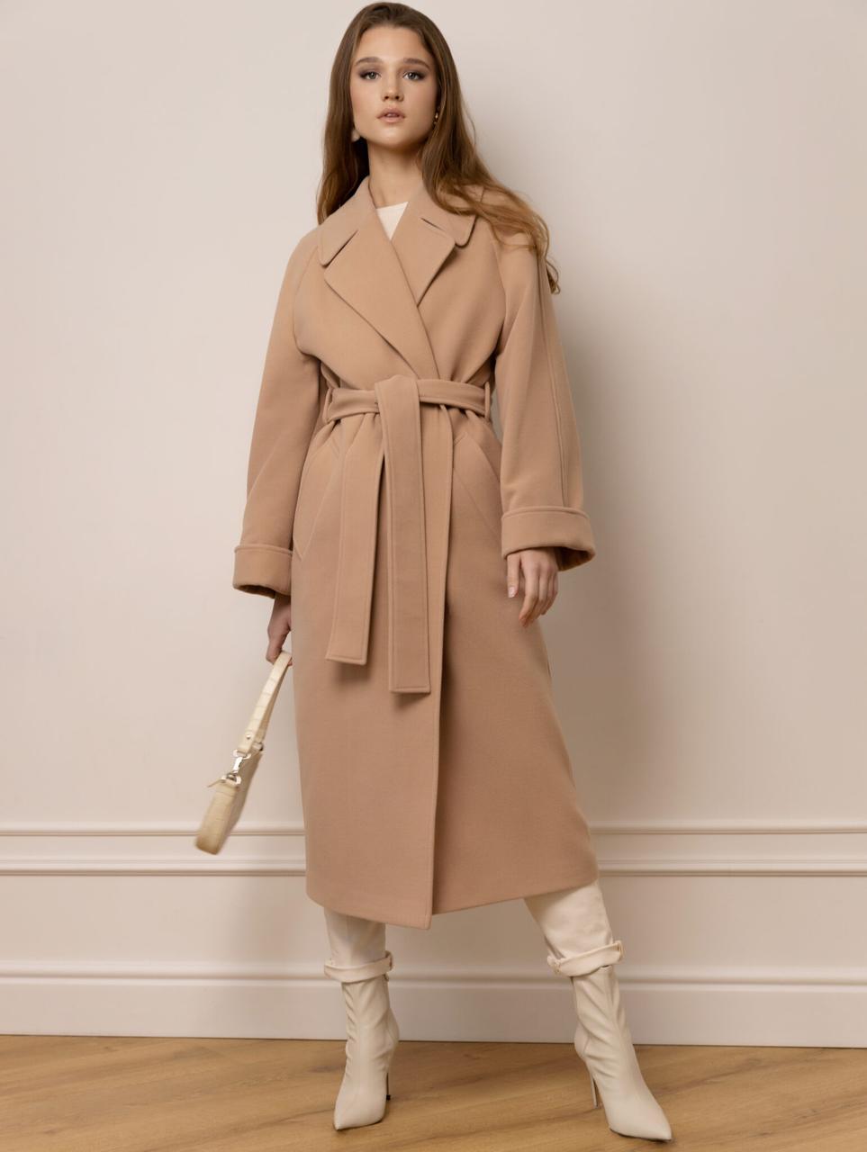 Жіноче демісезонне бежеве пальто халат М 348 46