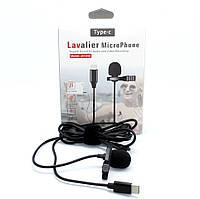Проводной петличный микрофон для записи звука с клипсой и разъемом Type-C на смартфон Android JH-042