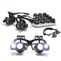 NO.9892G8KX лупа-очки бинокулярные c LED подсветкой, 8 сменных линз, пластик: 2.5X/4X/6X/8X/10X/15X/20X/25X