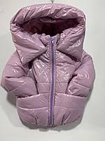 Куртка детская демисезонная для девочки под резинку с капюшоном Реглан 2-5 лет, сиреневого цвета