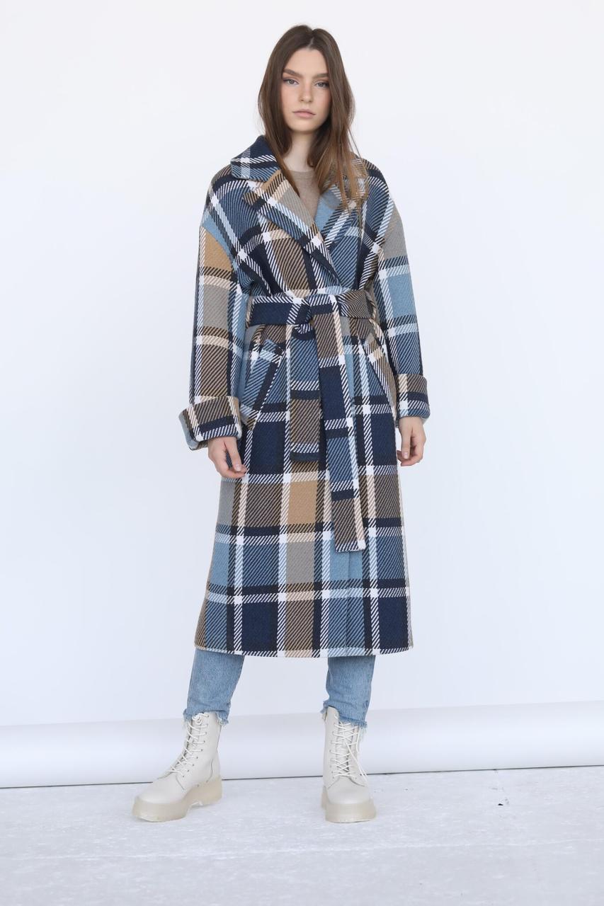 Жіноче демісезонне пальто халат в клітку М 283