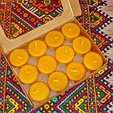 Подарочный набор круглых восковых чайных свечей 18г (12шт.) в коробке Бежевый Крафт, фото 2