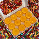 Подарочный набор круглых восковых чайных свечей 18г (12шт.) в коробке Бежевый Крафт, фото 4