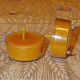 Подарочный набор круглых восковых чайных свечей 18г (12шт.) в коробке Бежевый Крафт, фото 6