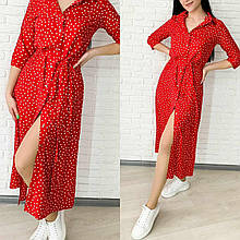 Женское легкое на пуговках миди платье горошек с поясом красное черное изумруд мокко 42-44,46-48,50-52