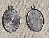 Основа сеттинг для кулона под кабошон овальный Серебро античное 32х20 мм кабошон 25х18 мм, фото 3
