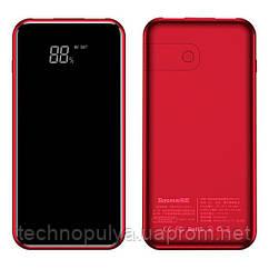 Внешняя аккумуляторная батарея с беспроводной зарядкой и жк-дисплеем Baseus 8000mAh Power bank QI Красная