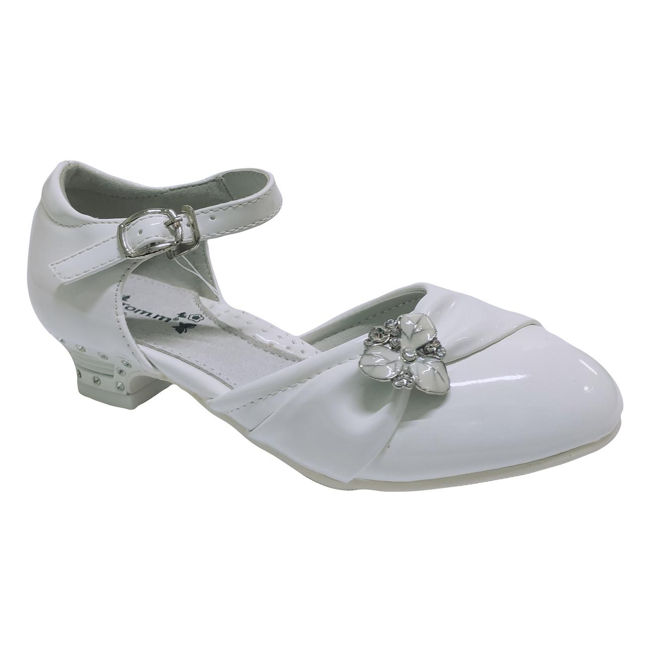 Детские туфли на каблучке девочкам, р-ры 27-32 Нарядные белые, праздничные, комфортные туфельки от Том М