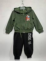 Дитячий спортивний костюм для хлопчика на манжетах Among us 2-6 років, зеленого кольору