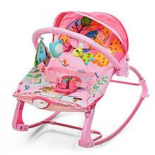 Музичний шезлонг-гойдалка з дугою з іграшками, козирком, віброблоком для малюків Bambi PK-306-8, рожевий