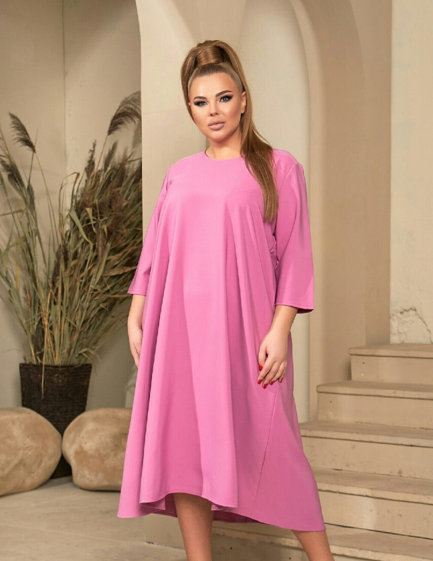 Женское розовое платье миди А-силуэта батал
