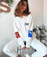 Женский стильный белый весенний спортивный костюм двунить петля 42-44,46-48