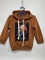 Худи детское для мальчика под резинку с капюшоном Мультяшка размер 2-6 лет, коричневого цвета