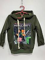 Худи детское для мальчика под резинку с капюшоном Minecraft размер 2-6 лет, зеленого цвета