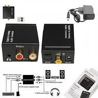 Конвертер цифрового звука с оптики в аналог + гнездо 3.5мм, DC-5V, Конвертер оптика в RCA