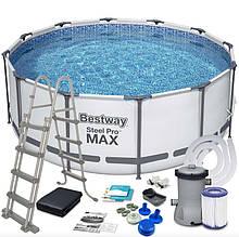 Бассейн Bestway 56420 каркасный Ø 366 х 122 см, фильтр- насос, лестница, тент