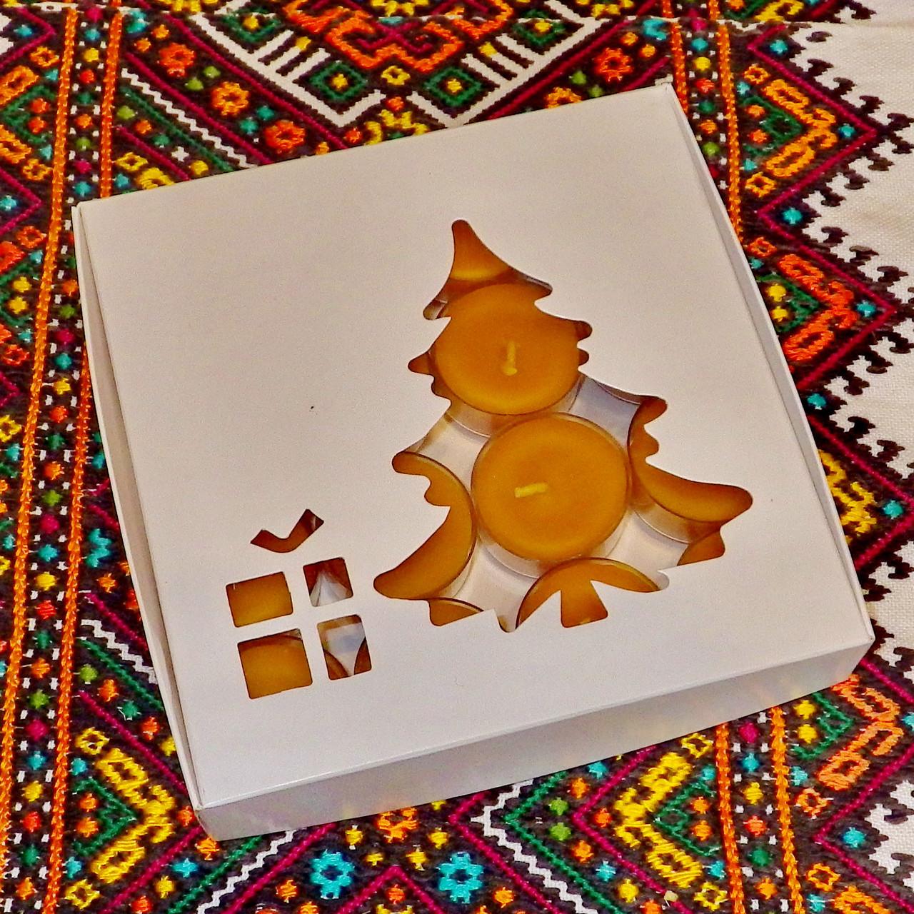 Подарочный набор круглых чайных восковых свечей 15г (16шт.) в коробке Белая Смеричка
