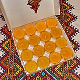 Подарочный набор круглых чайных восковых свечей 15г (16шт.) в коробке Белая Смеричка, фото 2