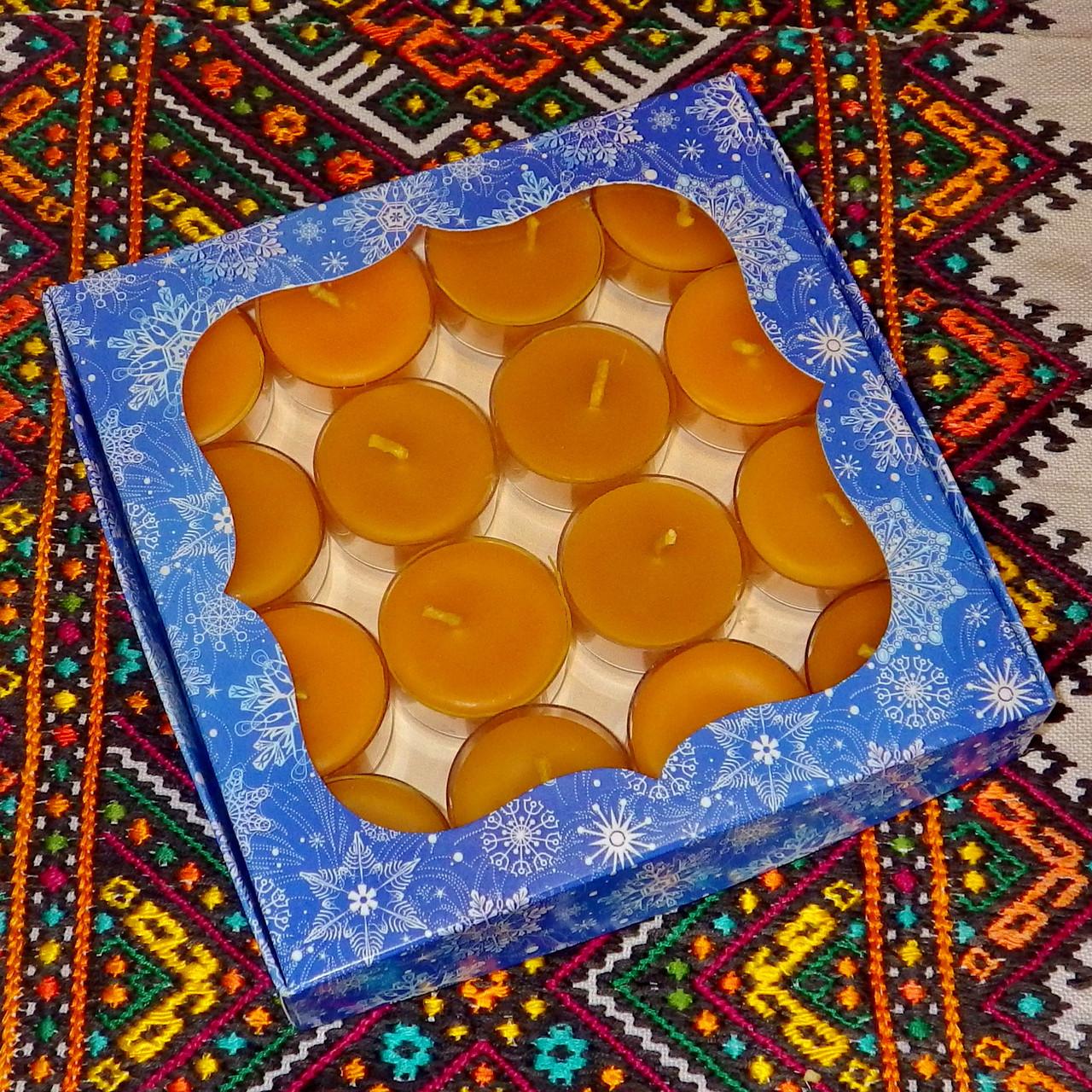 Подарочный набор круглых чайных восковых свечей 15г (16шт.) в коробке Синий Снег
