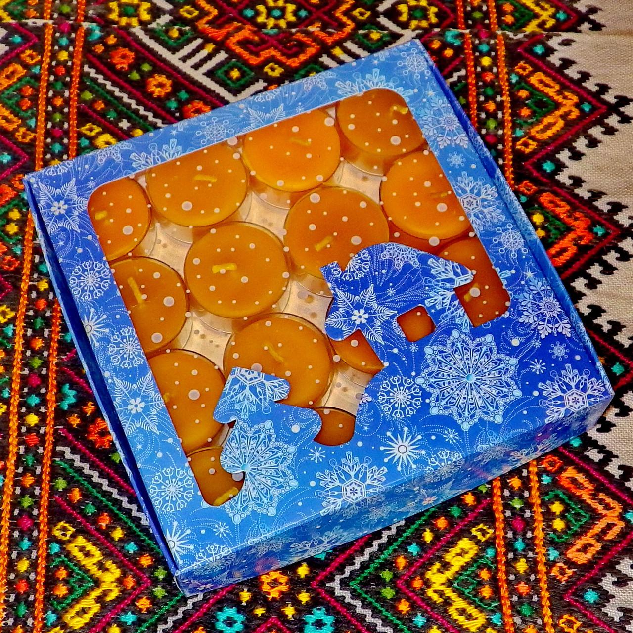 Подарочный набор круглых чайных восковых свечей 15г (16шт.) в коробке Синий Домик