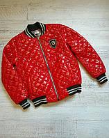 Куртка подростковая демисезонная для девочки стеганная под резинку 8-12 лет, красного цвета
