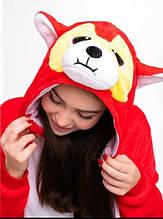 Кигуруми хаски красный (пижама, костюм детский, женский, мужской комбинезон)