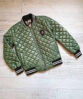 Куртка підліткова демісезонне для дівчинки стьобаний під гумку 8-12 років, оливкового кольору