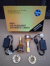 Комплект автомобільних LED ламп H7 Світлодіодні лампи HeadLight золота коробка