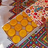 Подарочный набор круглых чайных восковых свечей 15г (24шт.) в Яркой коробке, фото 3