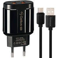 Сетевое зарядное устройство Gelius Pro Avangard GP-HC06 2USB 2.4A + Cable Type-C Black