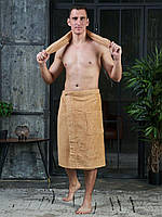 АКЦИЯ Килт БЕЖЕВЫЙ + полотенце. Мужское банное махровая микрофибра - для бани с запахом, на липучке