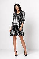 ✔️ Шелковое платье А-образного силуэта с оборкой в горох 42-50 размеры разные расцветки