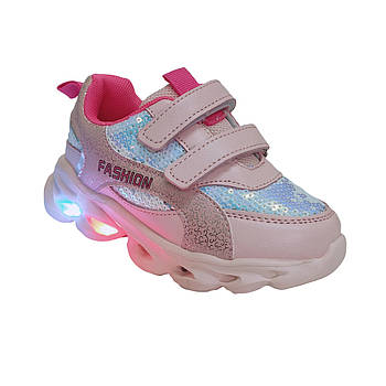 Светящиеся розовые детские кроссовки с пайетками для девочки от Том М