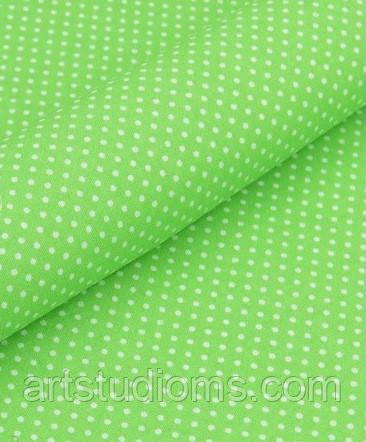 Ткань. Хлопок  густой горошек на зеленом фоне. Отрез 50х40см