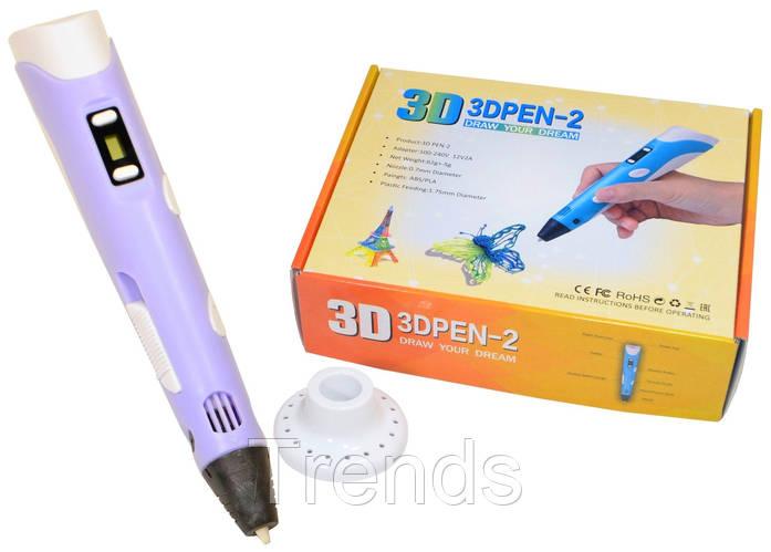 Картинка товара 3D-ручка с экраном 3DPen-2 с Эко Пластиком PLA (9 метров ) 3Д Ручка Purple
