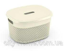 "Корзина для хранения с крышкой  KIS ""Filo Basket S"" (27х22х15 см) кремовая."