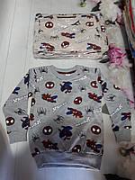 Батник трикотажний дитячий на манжеті для хлопчика Spiderman 5-9 років, сірого кольору