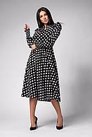 ✔️ Модное женское платье отрезное длины миди в горох 42-48 размера разные расцветки