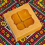 Подарочный набор квадратных чайных восковых свечей (4шт.) в коробке Красное Сердце, фото 2