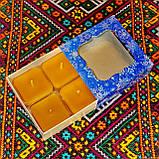 Подарочный набор квадратных чайных восковых свечей (4шт.) в коробке Красное Сердце, фото 4