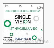 Линза для очков утонченная, гидрофобная, асферическая World Vision 1,67 HMC+EMI+UV400