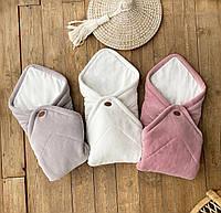 """Велюровий конверт-ковдру на виписку з пологового будинку """"Tessera"""" рожевий, фото 1"""